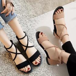 Sandal nữ thời trang - da cao cấp kết hợp dây đan chéo cá tính