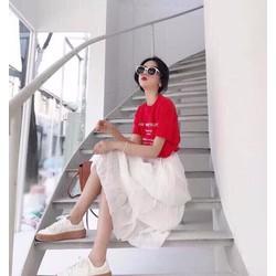 Set áo đỏ + chân váy maxi tầng