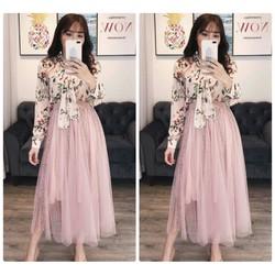 Set áo hoa cột nơ tay dài chân váy lưới hồng siêu xinh