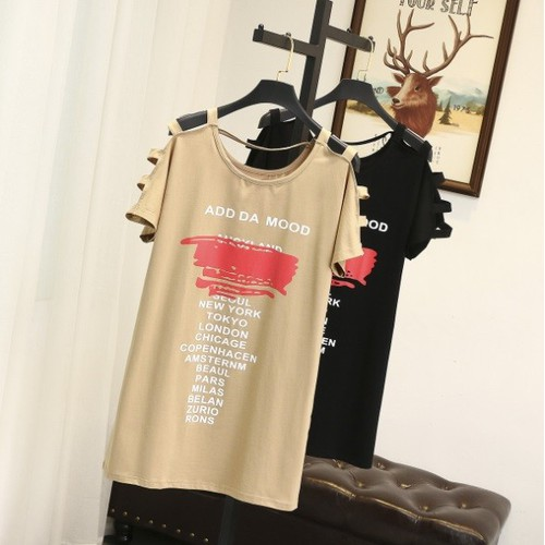 YW8868 - Đầm suông hở vai xuân hè cho người mập - giá 360k
