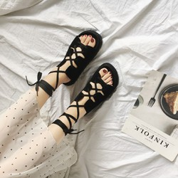 Sandal nữ đan chéo cột dây