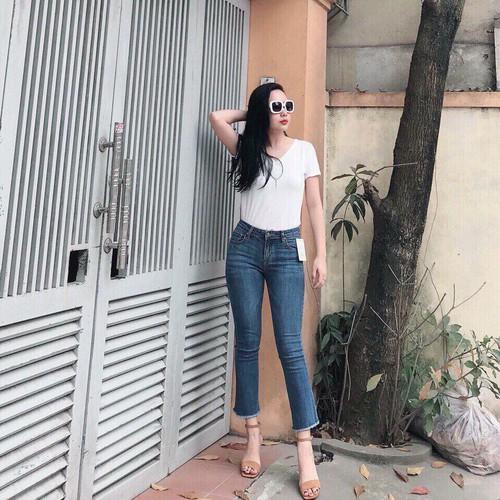 Quần jeans ống loe 9 tấc màu nhạt cao cấp