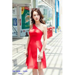 Đầm Xòe Đỏ Lệch Vai Phối Trắng Sang Trọng