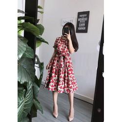 Đầm xòe hoa đỏ cực xinh - NR233