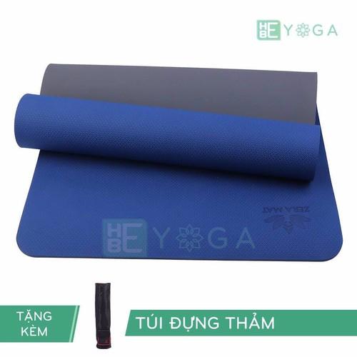 Thảm yoga TPE Zera Mat 2 lớp 6mm màu xanh coban + Kèm túi