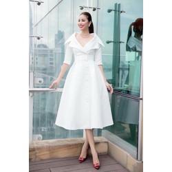Đầm xòe trắng kiểu cổ vest tay lỡ