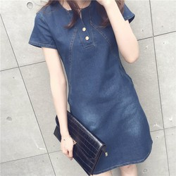 Đầm denim nữ  suông jean phối túi D0413