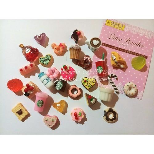 Combo 30 charm bánh kẹo thức uống trang trí slime