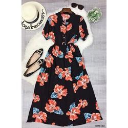 Đầm maxi hoa tay ngắn