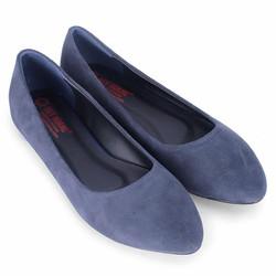 Giày nữ đế bệt da lộn màu xanh đen SH4297