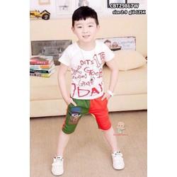 Bộ bé trai in chữ phong cách Nhật Bản cho bé từ 2-9 tuổi