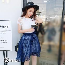 Set áo ren chân váy ren lưới xinh xắn - hàng nhập cao cấp