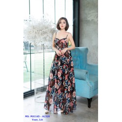 Đầm Maxi Hoa Hai Dây Cột Dây Lưng