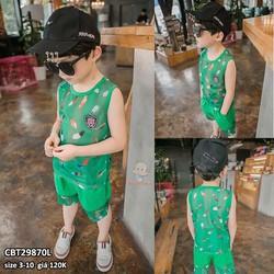 Bộ bé trai áo lưới sát nách in 3D sang chảnh cho bé từ 3-10 tuổi màu