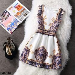 Đầm gấm xòe cao cấp - hàng nhập Quảng Châu