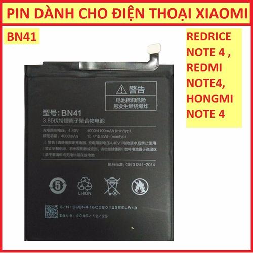Pin dành cho Xiaomi Redmi Note 4 -  BN41 - Hàng nhập khẩu
