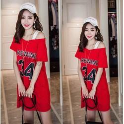 Đầm suông trễ vai đẹp kiểu dáng Hàn Quốc