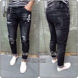 Quần Jeans Nam In Hình Đầu Lâu Ms302