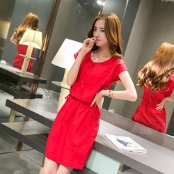 Đầm suông thắt eo cúc ngực chất mát mịn siêu đẹp