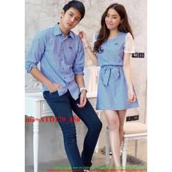 Set áo váy cặp đôi tình nhân thắt nơ tay phối ren đáng iu ATD179