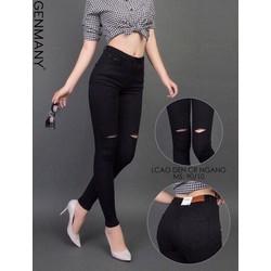 Quần jean nữ lưng cao rách nhẹ