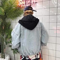 áo khoác jean nam phối nón