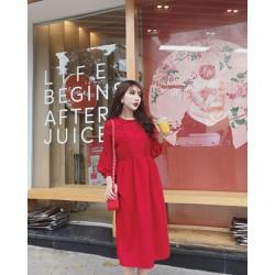 Đầm suông xếp bèo siêu xinh màu đỏ y hình
