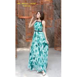 Đầm Maxi Cột Dây Cổ Phối Viền Ren