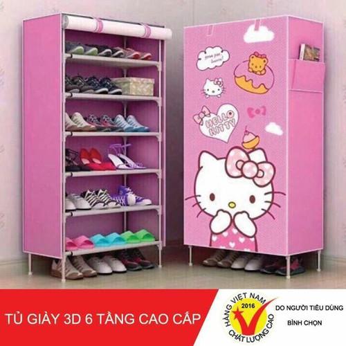 Tủ giày vải 6 tầng hình kitty - 5030306 , 10060104 , 15_10060104 , 180000 , Tu-giay-vai-6-tang-hinh-kitty-15_10060104 , sendo.vn , Tủ giày vải 6 tầng hình kitty