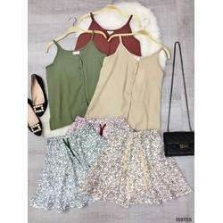 Set áo 2 dây nút dọc và chân váy hoa nhí