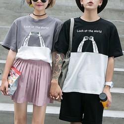 Áo T-shirt phối nửa màu in chữ cao cấp cực xinh