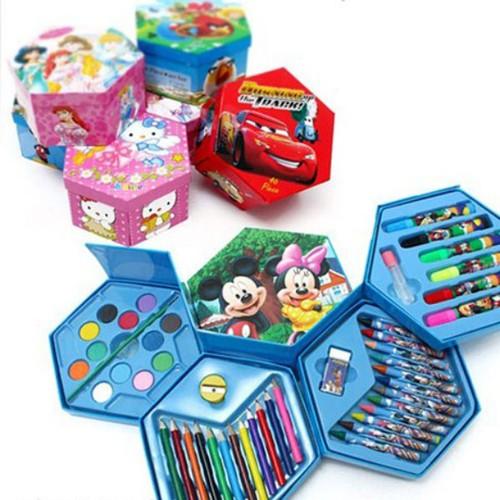 Hộp bút chì nhiều màu 4 tầng xoay 46 món