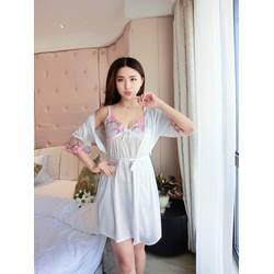 Đầm ngủ phi lụa 2 dây mát lạnh kèm áo choàng ren tay  SEXY LADY SX3-32