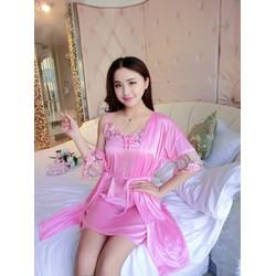 Đầm ngủ phi lụa 2 dây mát lạnh kèm áo choàng ren tay  SEXY LADY S-X332