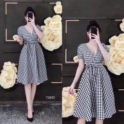 Đầm suông sọc caro thời trang