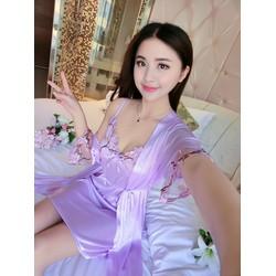 Đầm ngủ phi lụa 2 dây mát lạnh kèm áo choàng ren tay  SEXY LADY SX33-2
