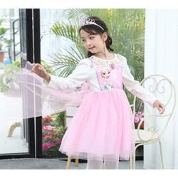 Đầm voan tay dài tà dài phối ren in công chúa Elsa mừng sinh nhật