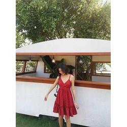 Đầm Xoè chấm bi đỏ Xinh Xắn