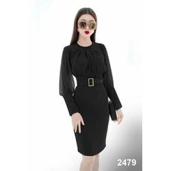 Đầm body đen tay dài