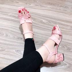 Giày sandanl da rắn gót vuông 5f