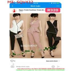 Sét áo kiểu viền xòe lệch phối quần baggy thời trang SQV432