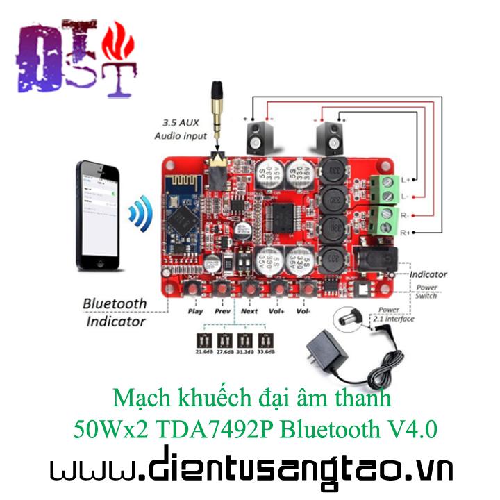 Mạch khuếch đại âm thanh 50Wx2 TDA7492P Bluetooth V4.0 7