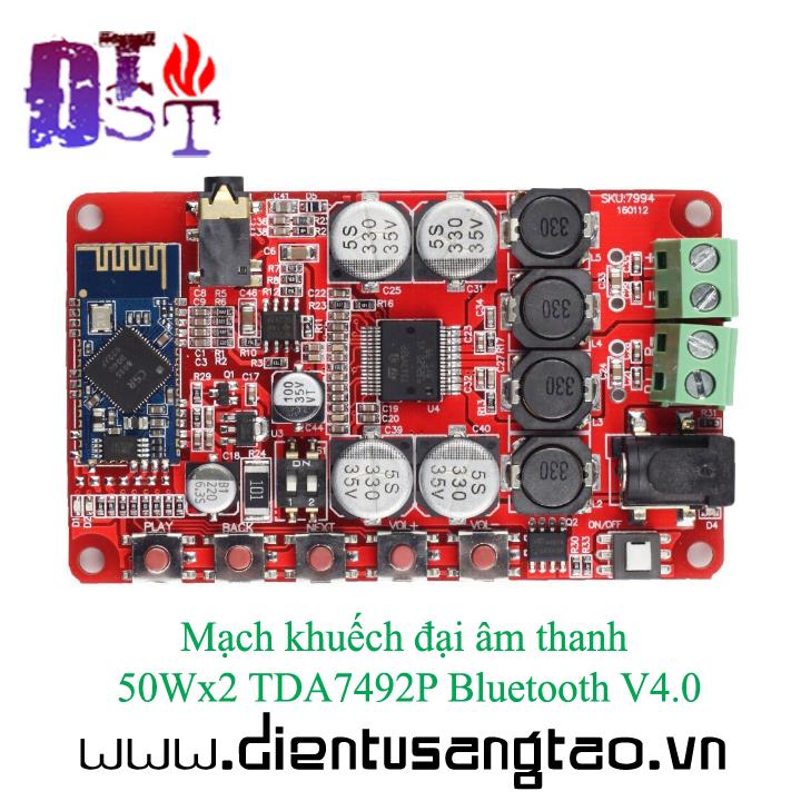 Mạch khuếch đại âm thanh 50Wx2 TDA7492P Bluetooth V4.0 5