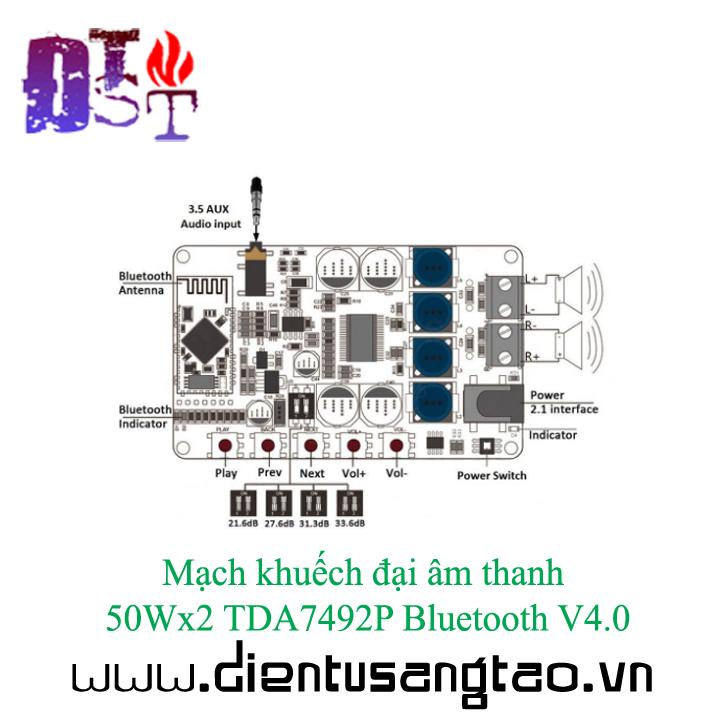 Mạch khuếch đại âm thanh 50Wx2 TDA7492P Bluetooth V4.0 9