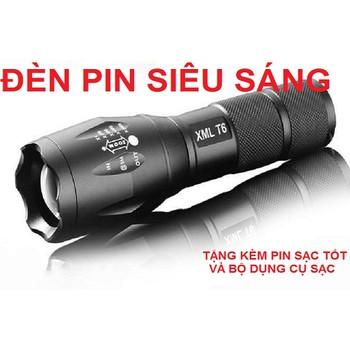 ĐÈN PIN SIÊU SÁNG  XML-T6  H352 CHỐNG NƯỚC KÈM PIN SẠC