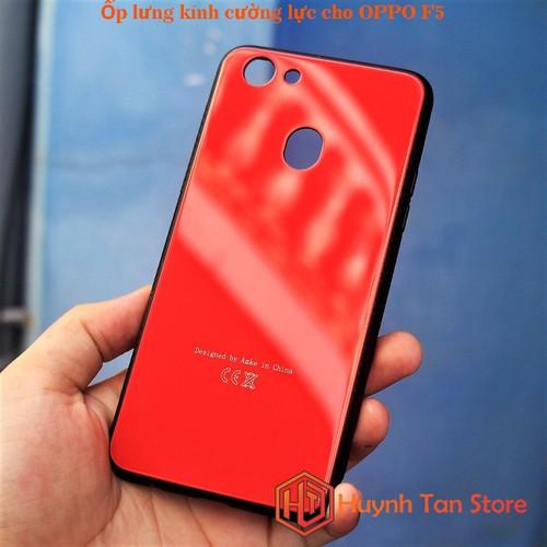 Ốp lưng OPPO F5_Ốp lưng kính cường lực cho OPPO F5 Đỏ