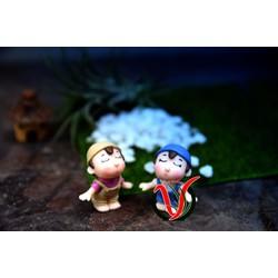 Phụ kiện tiểu cảnh - Cặp vợ chồng làm vườn, phụ kiện terrarium