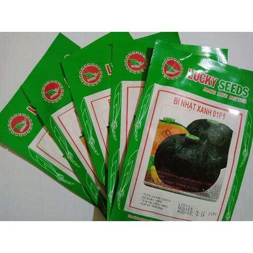 Combo 2 gói hạt giống Bí Nhật xanh  LUCKY SEEDS TẶNG 1 phân bón