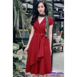 Đầm Xòe Cổ Vest Cột Nơ Eo