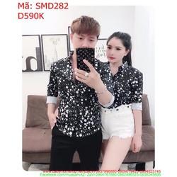 Sét áo sơ mi cặp dài tay họa tiết caro trắng nhỏ SMD282